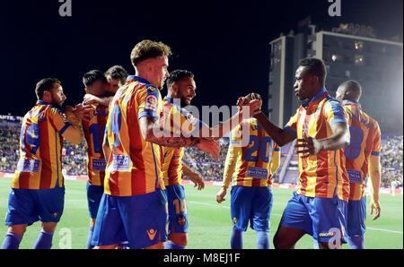 Levante players congratulate Boateng (R) after scoring the second goal against Eibar, during the First Division - Stock Photo