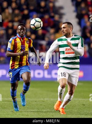 Levante Boateng fights for the ball with Eibar's Peña, during the First Division League match played tonight at - Stock Photo