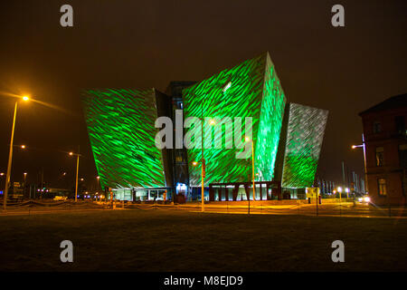 Belfast, Northern Ireland. 16th march, 2018. Titanic Building in Belfast is lit with green lights to celebrate St - Stock Photo