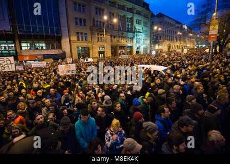 BRATISLAVA, SLOVAKIA - MAR 16, 2018: Demonstration demanding a change of government in the streets of Bratislava, - Stock Photo