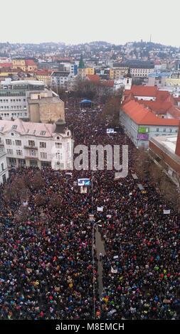 Bratislava, Slovakia. 16th Mar, 2018. Protestors hold a rally in the old town of Bratislava, Slovakia, on March - Stock Photo