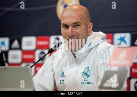 Madrid, Spain. 17th Mar, 2018. Real Madrid's French head coach, Zinedine Zidane, addresses a press conference after - Stock Photo
