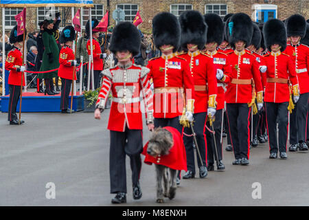 London, UK, 17 Mar 2018. Their mascot, the Irish Wolfhound Domhnal leads the march past - The Duke of Cambridge, - Stock Photo