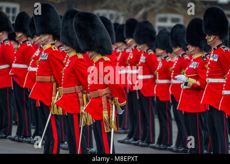 London, UK, 17 Mar 2018. The Duke of Cambridge, Colonel of the Irish Guards, accompanied by The Duchess of Cambridge, - Stock Photo