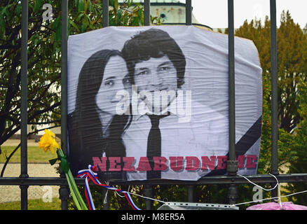 Bratislava, Slovakia. 16 March 2018. A sad look at the memo photograph of the murdered journalist Jan Kuciak and - Stock Photo