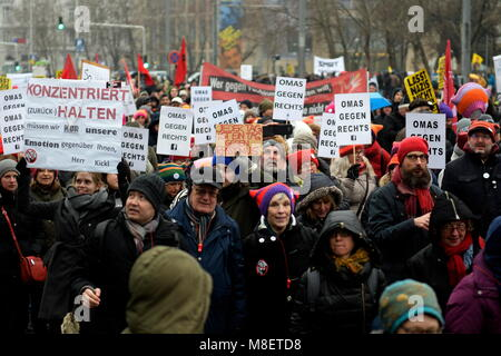 Vienna, Austria. March 17, 2018. Mass demonstration against racism and fascism in Vienna. The demonstration, like - Stock Photo