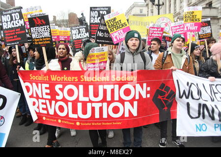 London, UK, 17 Mar 2018. Students protest at the UN Anti-Racism March in London Credit: Alex Cavendish/Alamy Live - Stock Photo