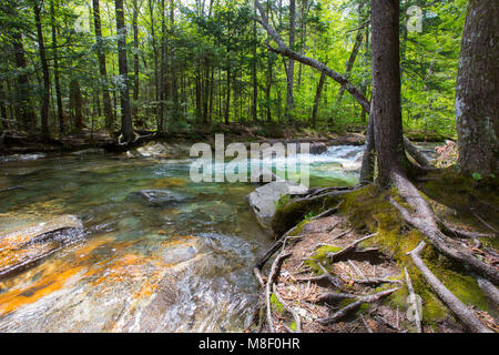 Flowing streams at The Basin in Franconia Notch State Park in Lincoln, New Hampshire on a sunny spring day. - Stock Photo