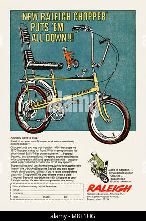 A 1970 advert for Raleigh Chopper bikes. It appeared in an American children's comic. The Raleigh Chopper is a children's - Stock Photo