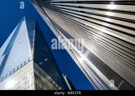 The Freedom Tower, a  Modern Glass and steel Building In Lower Manhattan, New York city USA, Replacing the World - Stock Photo