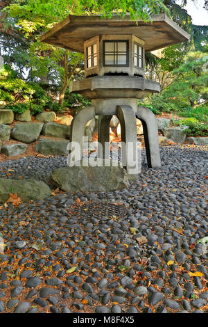 WASHINGTON - This two hundred year old stone lantern and a row of cherry trees were gifts from Seattle's sister - Stock Photo