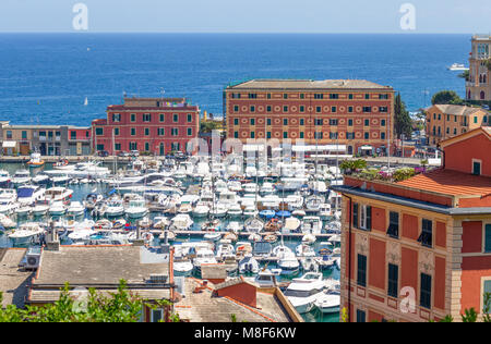 SANTA MARGHERITA LIGURE, ITALY, JULY, 12, 2017 - View of the port of Santa Margherita ligure, Genoa province, Ligurian - Stock Photo