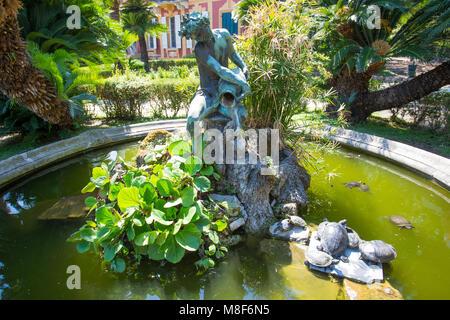 Statue and fountain in Villa Durazzo-Centurione in Santa Margherita Ligure, Genoa province, ligurian riviera, Italy - Stock Photo