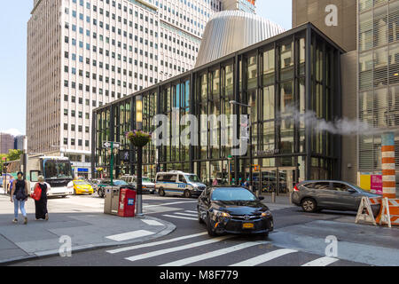 New York, NYC, USA – August 26, 2017: Streets and skyscrapers in the center of new York city near Wall Street, historical - Stock Photo