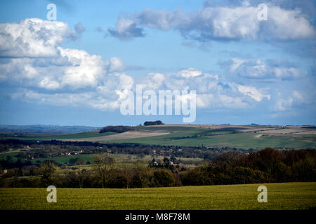 View from the top of Edington village in Wiltshire over the surrounding countryside - Stock Photo