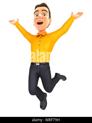 3d man is jumping, illustration with isolated white background - Stock Photo