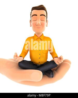 3d hand holding man doing yoga, illustration with isolated white background - Stock Photo