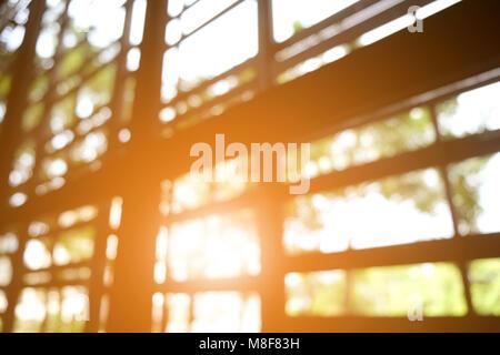 The sun shines through window in the morning - Stock Photo