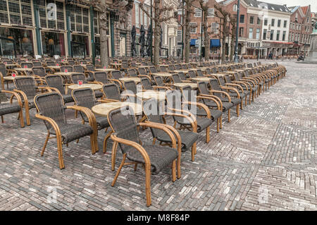market square with many wicker chairs for a large restaurant - Stock Photo