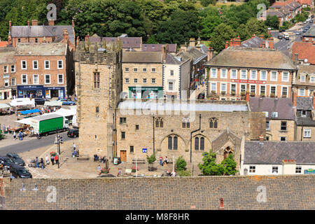 Richmond from the Castle Keep looking over Market Square Richmond North Yorkshire England - Stock Photo