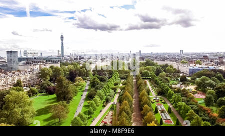 Aerial View London City View around The Regents Park feat. Elegant Garden Decorative Design Flower Beds and Trees - Stock Photo