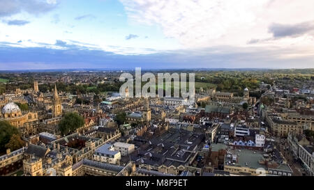 Oxford City Aerial Panoramic View feat. Famous Education Iconic Oxford University and Historic College Buildings - Stock Photo