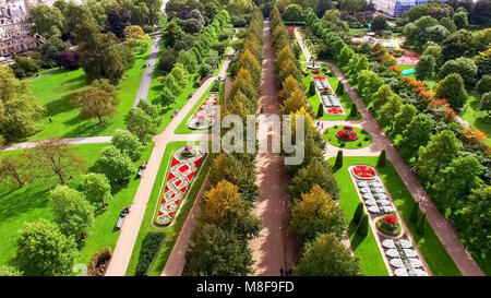 Beautiful Elegant The Regent's Park Gardens Aerial View feat. Decorative Design Flower Beds and Trees in London - Stock Photo