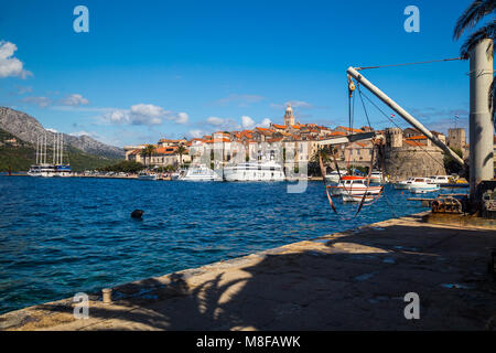 View of the picturesque historical and fortified harbor town of Korcula in the Adriatic Sea - Stock Photo