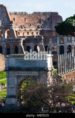 Arch of Constantine and the Coliseum seen from Palatine Hill, Rome, Italy. - Stock Photo
