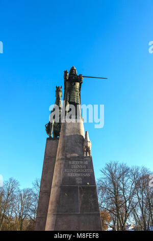 VIlnius, Lithuania - January 06, 2017: Bronze monument to Grand Duke Gediminas on the Cathedral Square in the old - Stock Photo