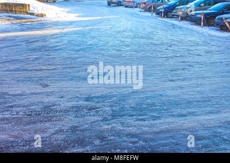 Icy road in winter - Stock Photo