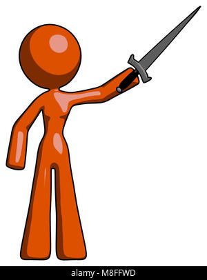 Orange design mascot woman holding sword in the air victoriously. - Stock Photo