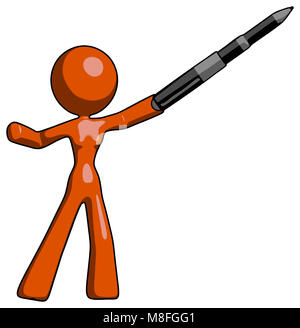 Orange design mascot woman shows, yes, the pen is mightier. - Stock Photo