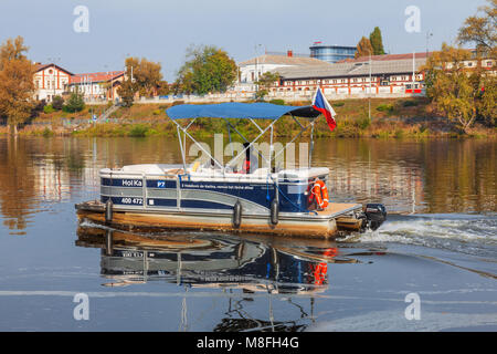 PRAGUE - October 1: Ferry Hol Ka transports passengers from district Karlin to district Holesovice on October 1, - Stock Photo