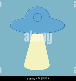 Space UFO flat icon - eps10, line icon in blue color - vector modern line design - Stock Photo
