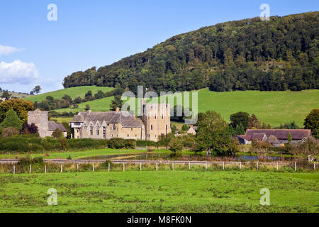 Stokesay Castle medieval fortified manor house Shropshire - Stock Photo
