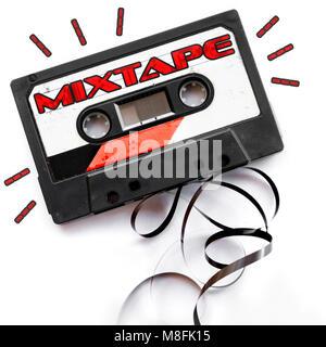 mixtape audio tape label red playlist background - Stock Photo