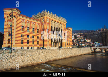 SARAJEVO, BOSNIA-ERZEGOVINA - FEBRUARY, 16: View of the National and University Library of Bosnia and Herzegovina - Stock Photo