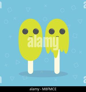 Cartoon ice cream. Vector illustration. - Stock Photo