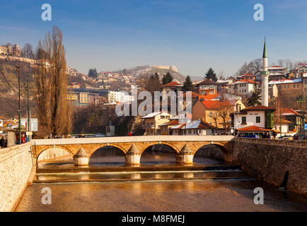 SARAJEVO, BOSNIA-ERZEGOVINA  - FEBRUARY, 16: View of the Latin Bridge in Sarajevo - Bosnia and Herzegovina on February - Stock Photo