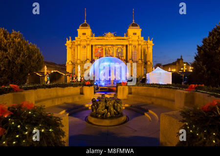 Advent decoration and event in front of the Croatian National Theatre in Zagreb, Croatia - Stock Photo