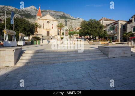 Stairs to St Mark's church in the center of town Makarska, Dalmatia, Croatia - Stock Photo