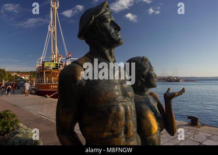 Monument of a tourist in town Makarska, Dalmatia, Croatia - Stock Photo