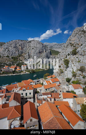Omis town and the doors of river Cetina by day, Croatia - Stock Photo
