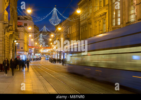 Main street in the city Zagreb decorated during the Advent, Croatia - Stock Photo