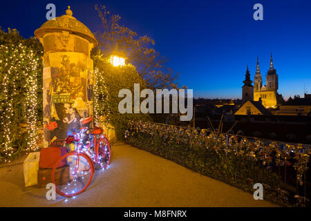 Panoramic view on Zagreb city cathedral from the Strossmayer promenade during the advent, Croatia - Stock Photo