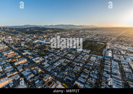 Los Angeles, California, USA - February 20, 2018:  Aerial morning view of Hollywood neighborhood in LA. - Stock Photo
