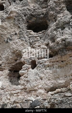 Camp Verde, AZ, USA: Detail of the Montezuma Castle National Monument, built between 1100 and 1425 AD by native - Stock Photo
