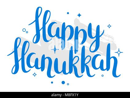 Happy Hanukkah celebration holiday card with lettering - Stock Photo