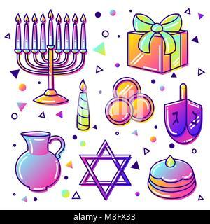 Set of Happy Hanukkah celebration objects and icons - Stock Photo